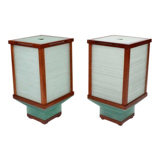 Pair of Very Modern Stacked Glass and Teak Lamps