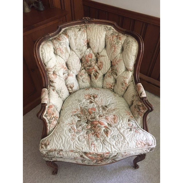 French Country Louis XV Style Carved Walnut Silk Settee & Chair - A Pair - Image 4 of 11