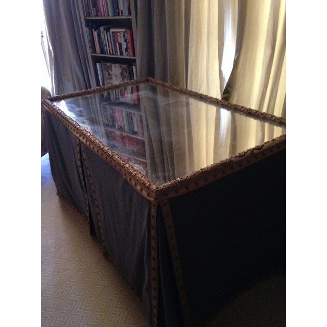 Wool Felt and Gold Braid Skirted Dressing Table with Antique French Mirror Top - Image 7 of 8
