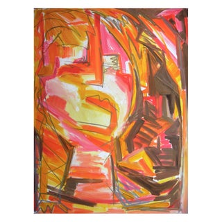 """Trixie Pitts """"Janis Joplin"""" Abstract Painting"""