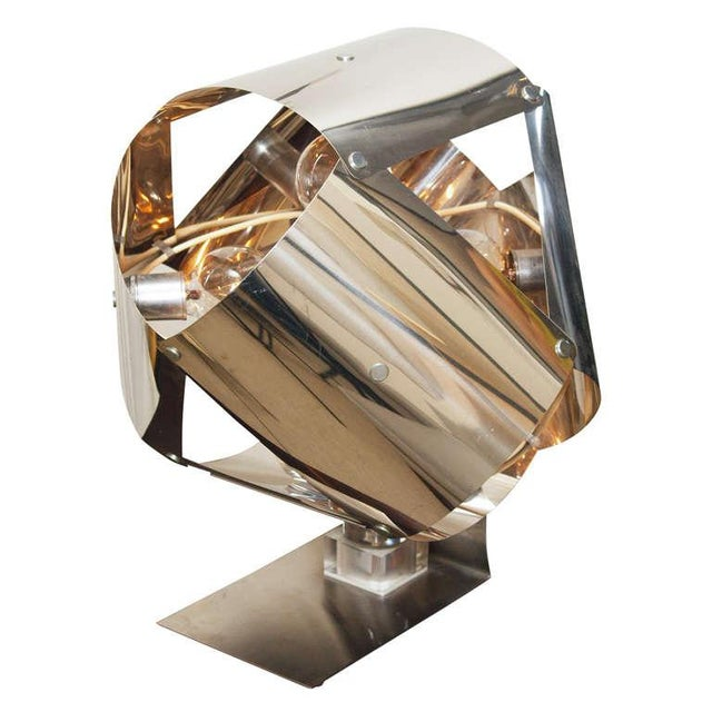 Chromed Metal Sculptural Table Lamp - Image 11 of 11