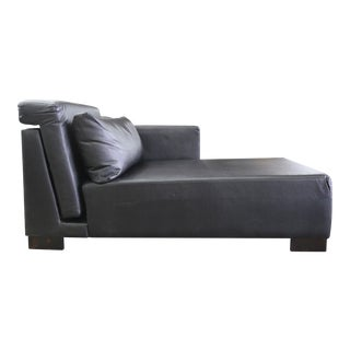 Modern Black Leather Brazilian Chaise