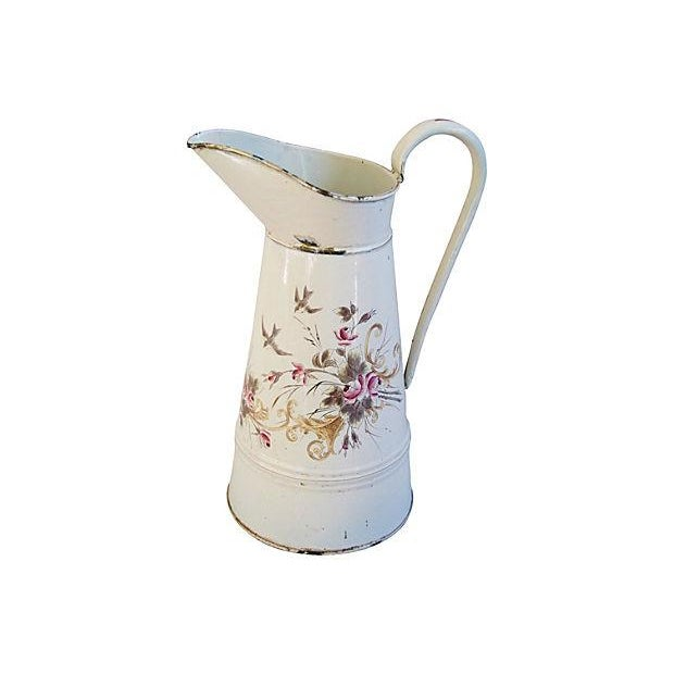 Vintage 1930s French Hand-Painted Floral Pitcher - Image 1 of 7