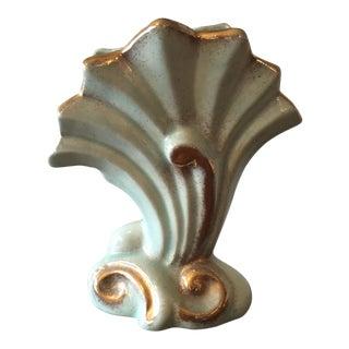 California Pottery Aqua & Gold Vase
