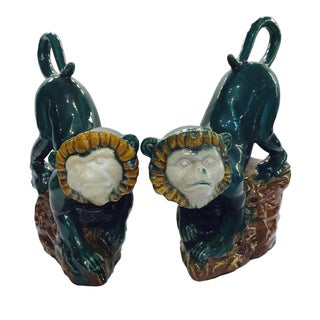 Vintage Jumping Monkeys Ceramic Bookends- A Pair