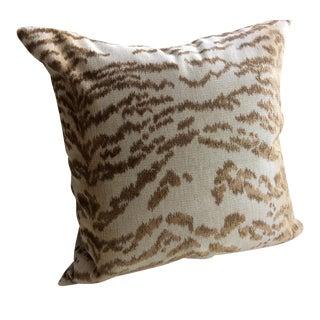 """Cowtan & Tout's """"Rajah"""" Beige Tiger Velvet & Down Pillows - A Pair"""