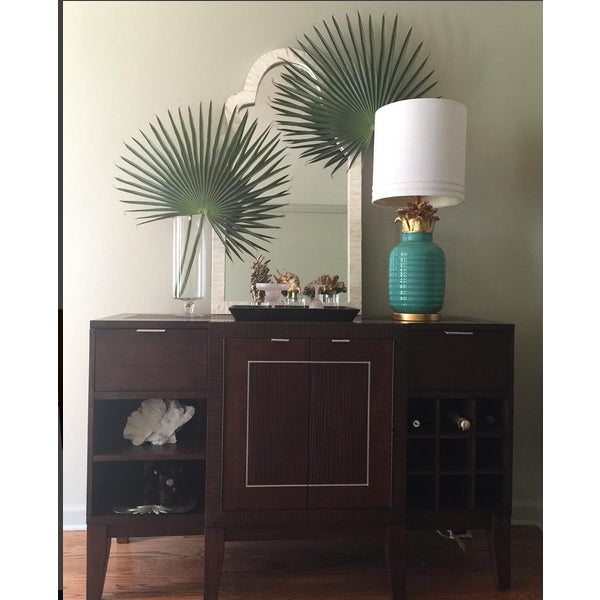 Image of Teal Hollywood Regency Pineapple Lamps - A Pair