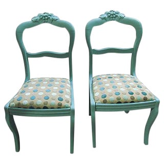 Antique Teal Carved Paris Dining Chairs - A Pair