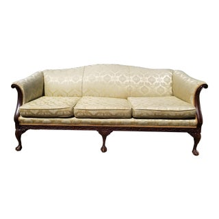 Antique Celery and Gold Damask Brocade Carved Wood Sofa