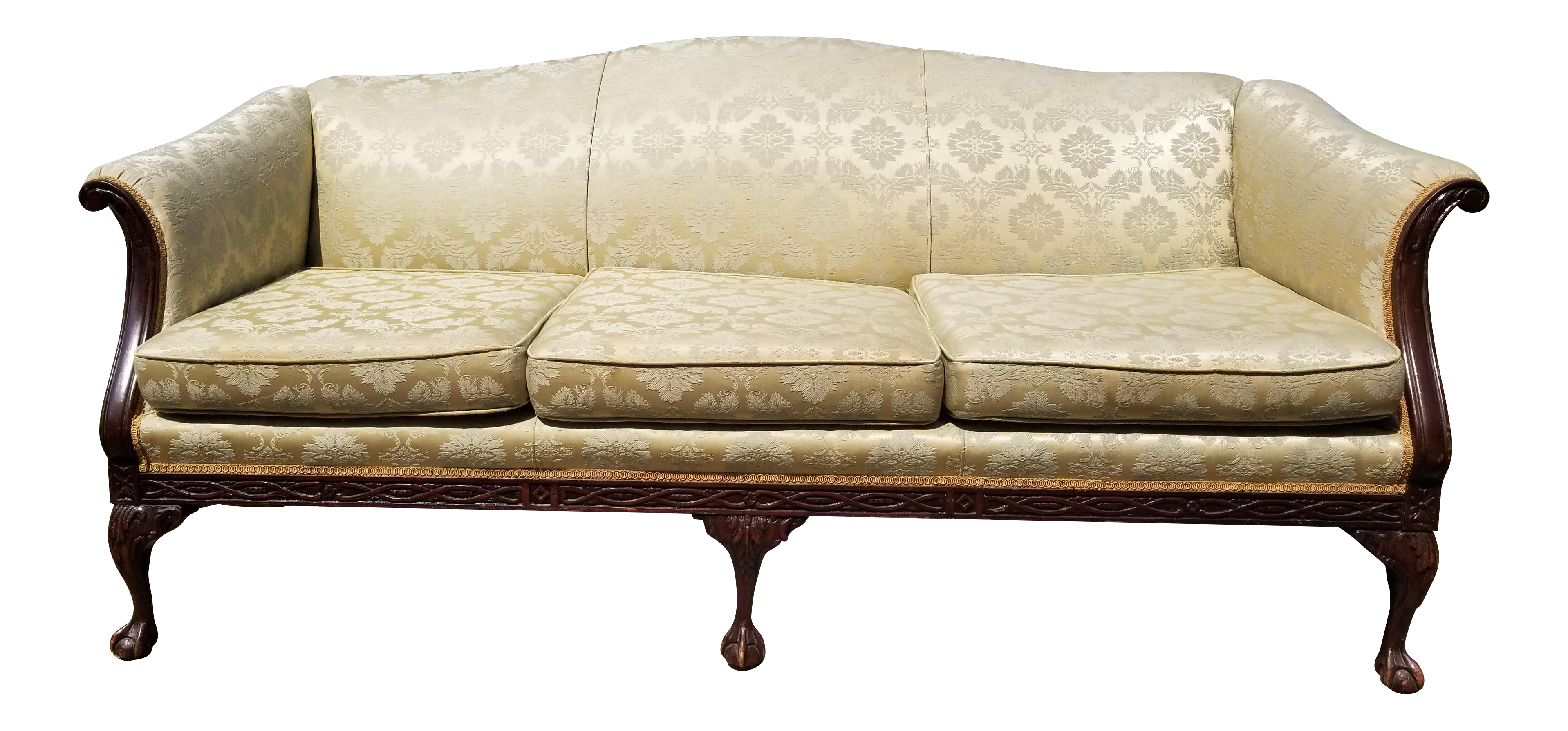 Antique Green And Gold Damask Brocade Carved Wood Sofa   Vintage Yellow  Couch   Image 1