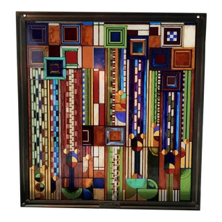 Vintage Frank Lloyd Wright Stained Glass Window Art