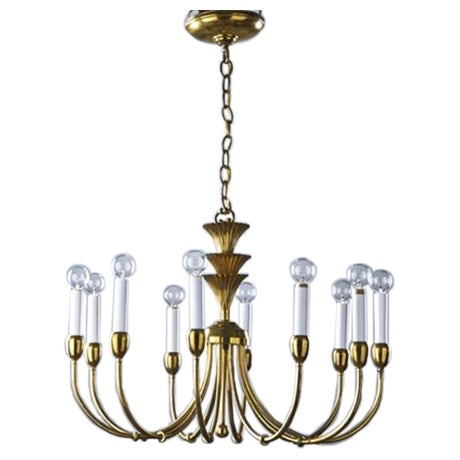 Mid-Century Modern Brass Chandelier in the Manner of Tommi Parzinger - Image 1 of 6