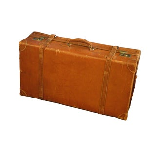 Antique English Style Leather Suitcase