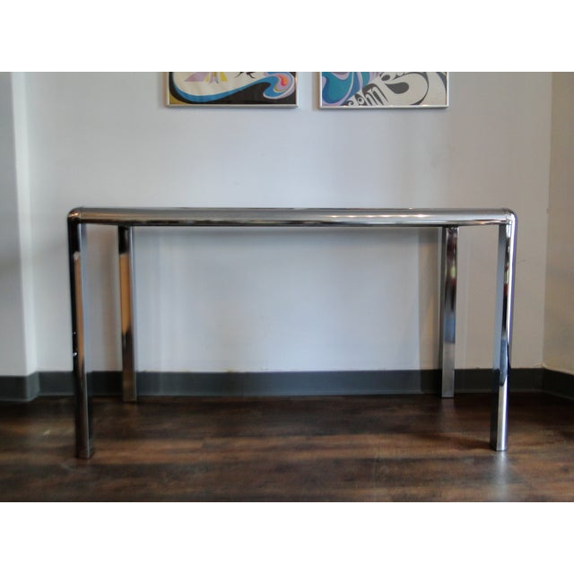 Mid Century Chrome and Glass Console Table - Image 5 of 8