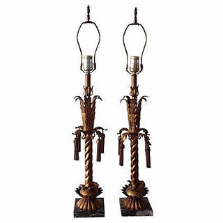 Italian Gilt Tole Lamps - Pair