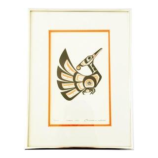 Clarence Wells Vintage Framed Native American Bird Art Print