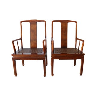 Asian Inspired Caned Chairs by Henrendon - a Pair