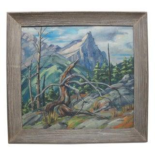 Mid-Century Mountainscape Oil Painting
