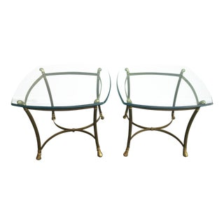 Vintage Weiman Brass & Glass End Tables - A Pair