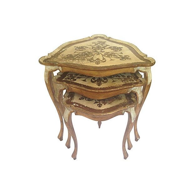 Italian Florentine Wood Nest Tables - Set of 3 - Image 1 of 6