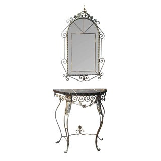 Wrought Iron & Marble Console & Mirror Set - A Pair