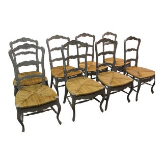 French Country Carved 4-Rung Ladderback Dining Chairs - Set of 8