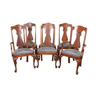 Polo Ralph Lauren Set of 6 Traditional Cherry Wood Dining Chairs