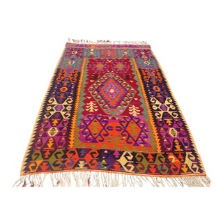 Vintage Turkish Kilim Rug - 5′7″ × 8′7″
