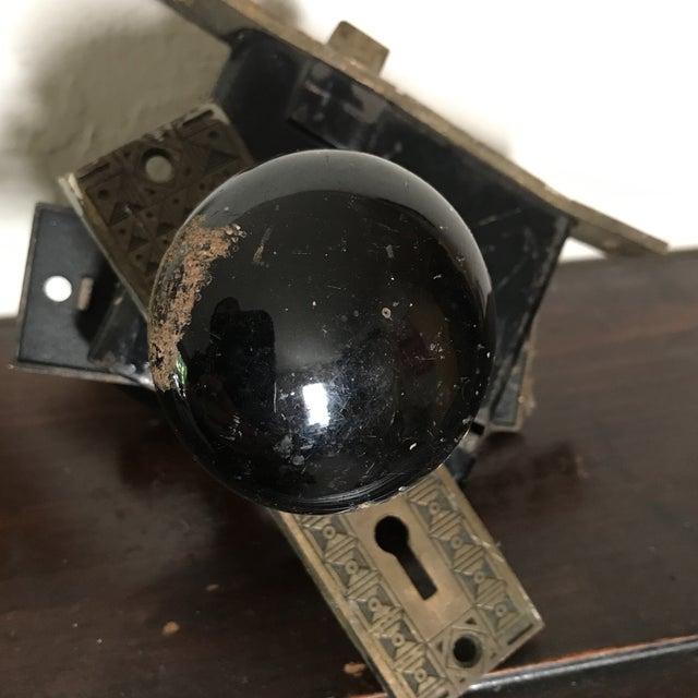 Antique Art Deco Black Porcelain Door Knobs With Door Plates - Image 7 of 11