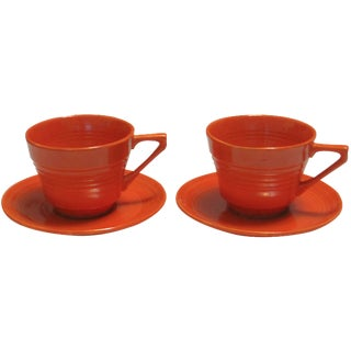 Mid-Century Red Harlequin Cups & Saucers - a Pair