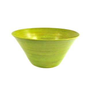Lime Green Spun Bamboo Serving Bowl - Tall