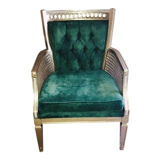 Vintage Green Velvet Tufted Chair