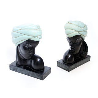 Female Bust Bookends - A Pair