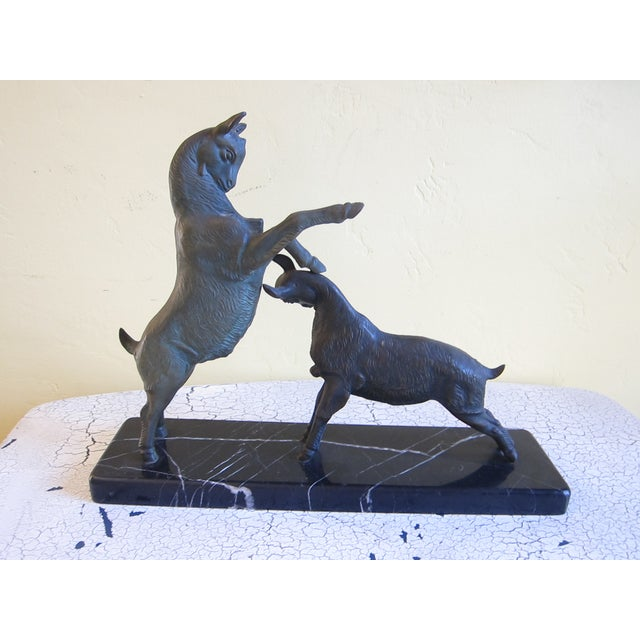 Vintage Art Deco Bronzed Rutting Goats on Marble - Image 3 of 11