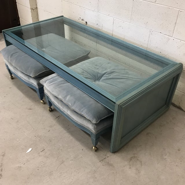 Unusual Coffee Table And Ottoman Set Chairish