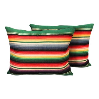 Pair of Mexican American Serape Indian Weaving Pillows