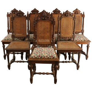 Antique French Hunting Dining Chairs - Set of 8
