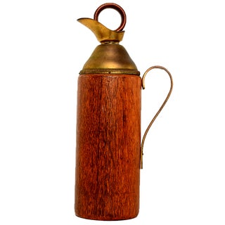 Mid-Century Aldo Tura Wood & Brass Pitcher