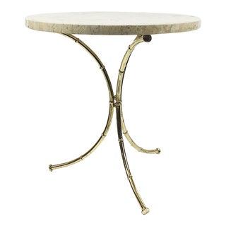 Italian Travertine & Brass Faux Bamboo Side Table