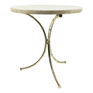 Italian Travertine & Brass Faux Bamboo Side Table