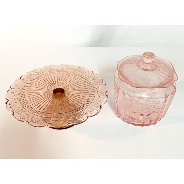 Image of Pink Depression Glass Cake Stand & Jar