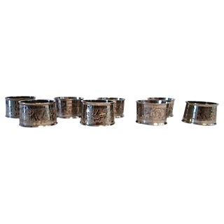 Silverplate Engraved Leaf Napkin Rings - Set of 8