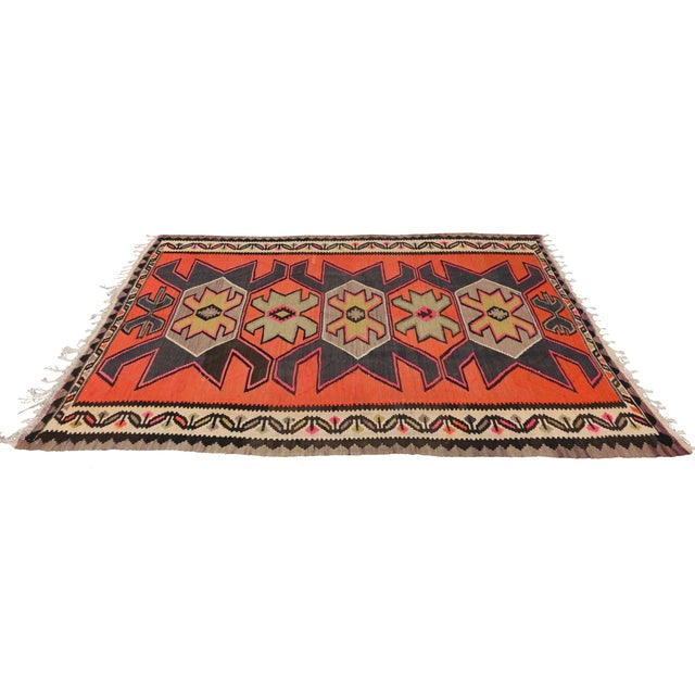 "Vintage Persian Shiraz Tribal Kilim Rug With Boho Chic Style - 5' 2"" X 8' 7"" - Image 3 of 5"