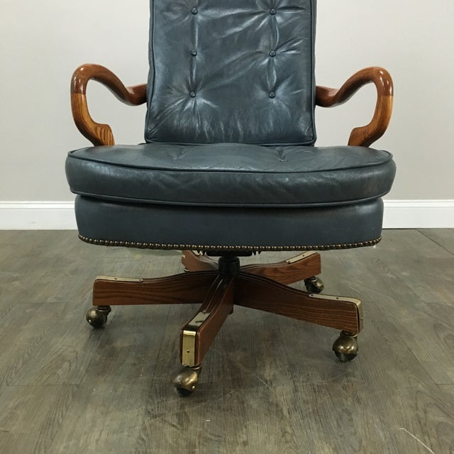 Sea Blue Tufted Leather & Nailhead Office Chair - Image 5 of 6