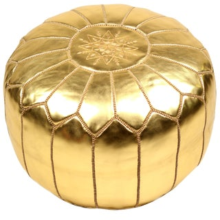 Embroidered Faux Metallic Gold Leather Pouf