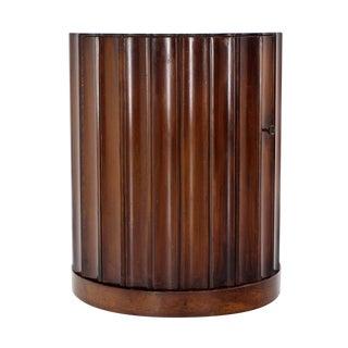 Round Mid-Century Modern Pedestal with Bar Cabinet