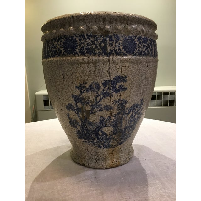Planter With Blue Pastoral Scene - Image 2 of 10