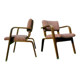 Vintage 1950s Mid-Century Modern Thonet Bent Wood Chairs - a Pair
