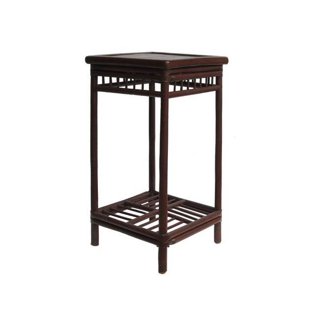 Chinese Handmade Vintage Bamboo Square Side Table Plant Stand - Image 2 of 5