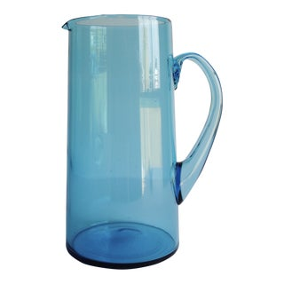 Vintage Turquoise Glass Pitcher